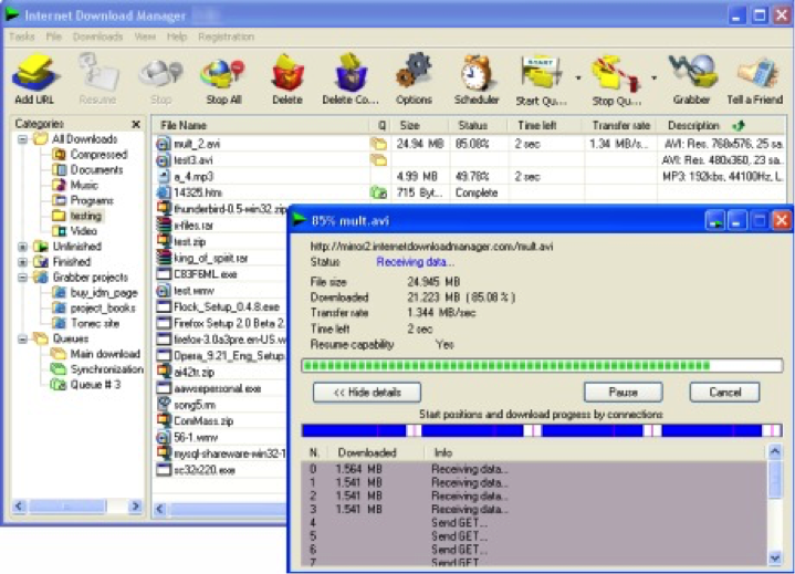 Téléchargez plusieurs fichiers volumineux avec Internet Download Manager