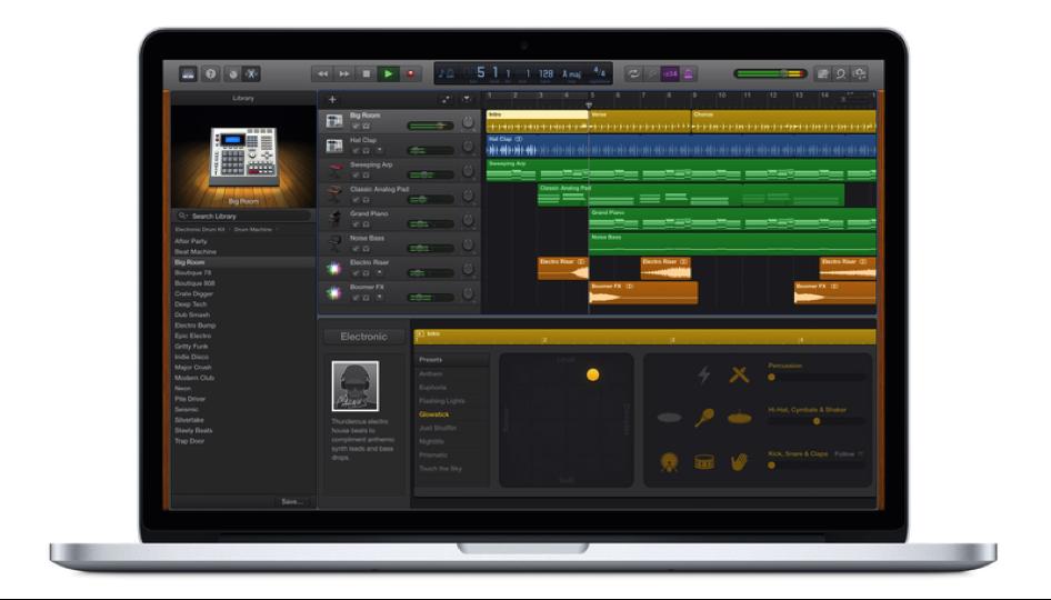 Le logiciel de musique Garage Band connecté à Apple Music